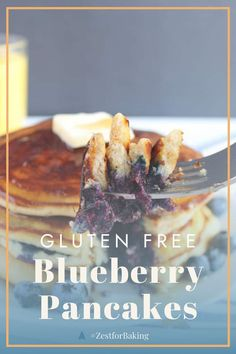 Gluten Free Blueberry Pancakes - they're light, fluffy, perfectly balanced with delicious ingredients and no one will even know they're gluten free or grain free! These are thick and the best you'll ever eat! #zestforbaking #glutenfreerecipes #glutenfreebreakfast Gluten Free Recipes For Lunch, Gluten Free Breakfasts, Gf Recipes, Gf Pancake Recipe, Pancake Recipes, Gluten Free Waffles, Gluten Free Blueberry, Refreshing Desserts, Blueberry Pancakes