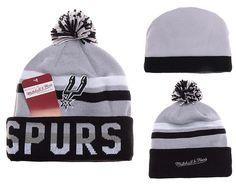 037b1a6abc3 Mens   Womens San Antonio Spurs Mitchell   Ness NBA Trifecta Cuffed Knit  Beanie Hat With Pom - Grey   White   Black