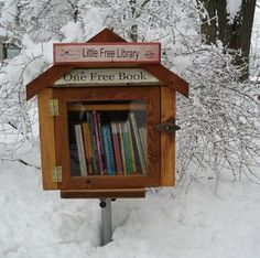 "Madison, Wisconsin has a number of  ""Little Free Libraries."" Built by homeowners, or private businesses, these libraries allow passers-by to take a book from the collection and also add a book to the collection that might be of interest to another passer-by."