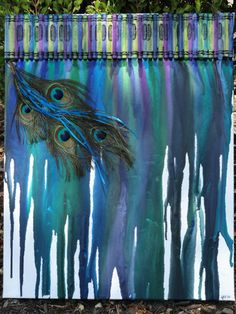 Peacock Crayon Art by Jenaloo by AriadneDreams on Etsy, $35.00