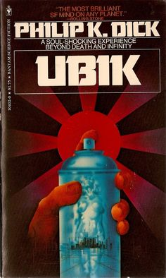 "Great essay on the madness & genius of Philip K Dick! Ubik is one of my favorite books. I can read it over & over. It's probably the strangest choice in what I think of as ""comfort books. Sci Fi Novels, Sci Fi Books, Book Cover Art, Book Cover Design, Book Covers, Album Covers, Book Art, Science Fiction Books, Pulp Fiction"