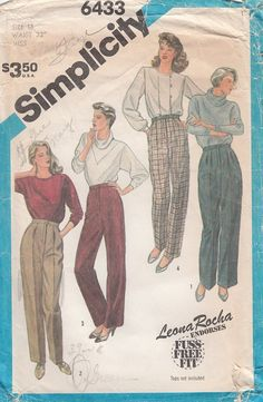 Vintage Simplicity 6433 Classic Fly Front Pants and by CedarSewing