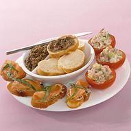 Vishapjes met garnalen zalm en tonijn