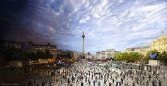 Trafalgar Square - dia / noite -Stephen Wilkes