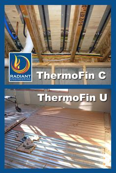 Radiant Engineering's aluminum heat transfer plates that hold oxygen barrier PEX tubing for radiant heated floors: ThermoFin C between the joists and ThermoFin U on the sub-floor. The range of uses for ThermoFin include radiant heating in floors, walls, and ceilings, above or below the floor, as well as industrial uses and fins for site-built solar collectors.
