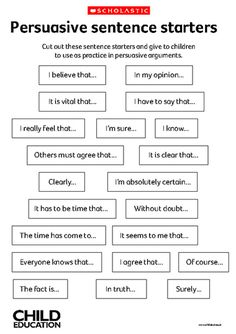 Persuasive sentence starters  Begin your 2nd Graders with these thoughts, so when they get to 4th grade they are ready to soar!