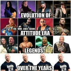 Some have changed more than others . Ever since Steve took on the stone cold gimmick he's looked exactly the same throughout the years . The man simply doesn't age. Wrestling Rules, Catch Wrestling, Wwe All Superstars, Austin Wwe, Wwe Quotes, Attitude Era, Wwe Funny, Undertaker Wwe, Star Wars Characters Pictures