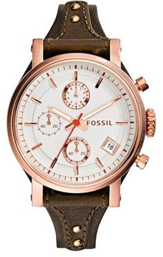 $135, Brown Leather Watch: Fossil Original Boyfriend Chronograph Leather Strap Watch 38mm. Sold by Nordstrom.