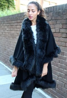 BLACK VINTAGE THICK FAUX FUR TWO LAYER BLANKET CAPE SHAWL