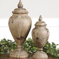 Uttermost 2 Piece Brisco Carved Decorative Urn Set