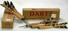 """2 Sets of Vintage Dart Board Equipment Co.~DECO Wooden Wood Darts With Steel Tips """"Official #1"""" 1D3 With Their Original Boxes!"""