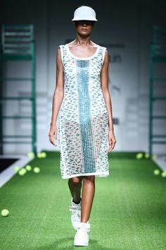 White and teal leather mesh dress available only at Pernia's Pop Up Shop.#perniaspopupshop #shopnow #newcollection #straightofftherunway #aifwss16 #festive #clothing #designer #shopnow  #anandbhushan