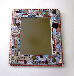 scrabble tile mirror-modge podge map background, foreign coins, charms, beads, ball chain---Ginnie Parrish