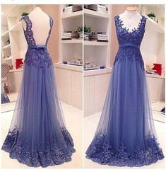 A Line Formal V Neck Lace See Through Back Pretty Popular Long Prom Dr – LoverBridal