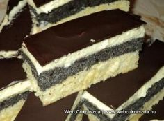 Mákos krémes Cookie Desserts, Fun Desserts, Cookie Recipes, Dessert Recipes, Hungarian Desserts, Hungarian Recipes, Torte Cake, Cake Bars, Bakery Recipes