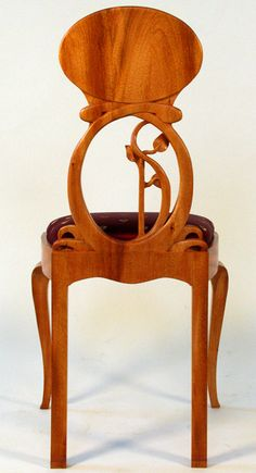 Art Nouveau Chair, to pair with Ladies Writing Desk.  Carved mahogany with silk upholstery.