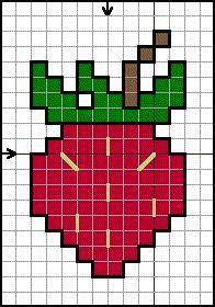 Strawberry mini cross stitch pattern by free patterns online