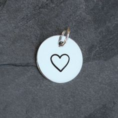 Heart Charm, Solid Sterling Silver, Stamped Jewelry, Hand Stamped Charm, Silver Charm with Jump Ring, Love Charm, Valentines Day