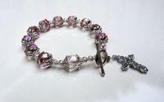 Genuine Pink Swarovski Crystal Antique Silver by IslandGirl77, $23.99