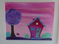 Tableau coton, chassis bois, peinture acrylique. couleurs rose, violet, turquoise, verts ....fond pailleté.  Les bords du tableau sont  peints pour un accrochage sans encadreme - 20170898