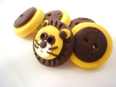 lion shaped buttons handmade with polymer clay
