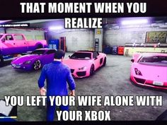 ...Except for the fact that in MY GTA 5 garage, I have all classic muscle cars in classic muscle car colors.  Todd and all of his online friends race with hot pink cars and motorcycles, trying to out-ugly each other.