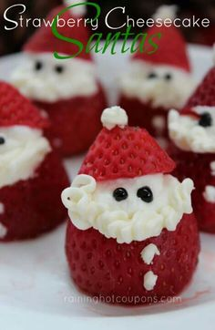 Santa Cheesecake stuffed strawberries