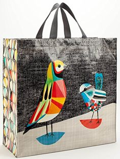 4 of these: Blue Q Large Reusable Shopping Tote, in Pretty Bird Blue Q