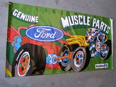 Nice New Ford Muscle Parts Vinyl Banner 4x2'