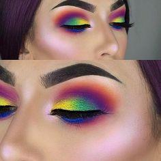 Cute eye make up Makeup Goals, Makeup Inspo, Makeup Inspiration, Makeup Ideas, Make Up Beratung, Make Up Tutorial Contouring, Sugarpill Cosmetics, Eyeshadows, Rainbow Makeup