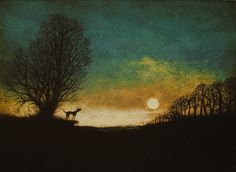 A Bark in the Night (2016) Etching / Engraving by tim southall | Artfinder