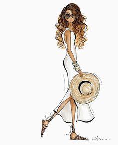 Summer white by Anum Tariq Fashion Illustration Sketches, Illustration Mode, Watercolor Illustration, Fashion Sketches, Fashion Art, Girl Fashion, Fashion Design, Fashion Trends, Sketch Design