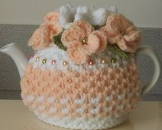 softest peach and white - hand knitted, crocheted and beaded small 2 cup tea cosy