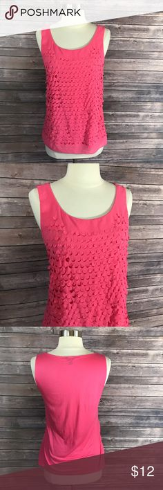 Ann Taylor Tank Top Womens Top Size XS Solid Pink Ann Taylor Tank Top Womens Top Size XS Solid Pink Sleeveless Lasercut Circles. Measurements: (in inches) Underarm to underarm: 17 Length: 24  Good, gently used condition Ann Taylor Tops Tank Tops
