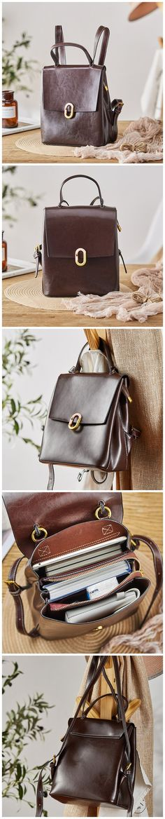 Top Grain Leather Backpack Natural Cowhide Rucksack Stylish Shoulder Bag SX8362 Leather School Backpack, Monogram Initials, School Backpacks, Cowhide Leather, Women's Bags, Cosmetic Bag, Best Gifts, Shoulder Bag, Stylish