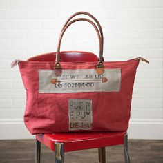 Recycled Canvas Wide Tote Bag - Terra Cotta Color with Rue Typography