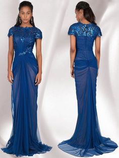 408 Tadashi Shoji Royal Blue Sequin Tulle Ruched Marina Gown 8 Dress