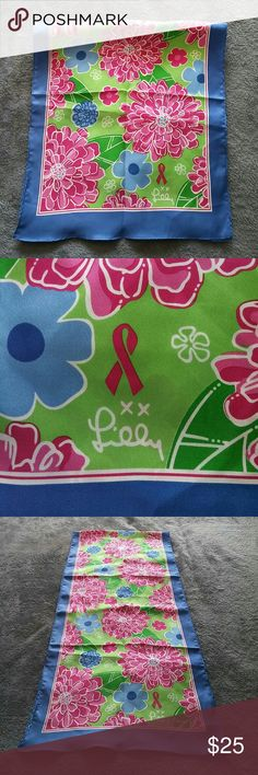 Lilly Pulitzer Silk Breast Cancer Awareness Scarf * This is a gently used item.  * No Holds  * No Trades  * Questions Welcome  * Offers Considered via the Offer Button  * ($3 Offers Will Not Be Accepted) Lilly Pulitzer Accessories Scarves & Wraps