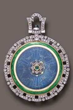 A BELLE EPOQUE ENAMEL, DIAMOND AND EMERALD PENDANT WATCH, BY TIFFANY & CO. With nickel-finished lever movement, 18 jewels, the circular dial with Arabic numerals and blued-steel hands, within a green enamel frame and rose-cut diamond openwork border, the reverse enhanced by green and blue guilloché enamel, accented at the center by a rose-cut diamond and cabochon emerald floret, mounted in platinum and 18k gold, (with wear to enamel), circa 1920, with Swiss assay mark Dial signed Tiffany…