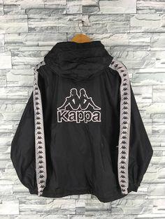 ec7e3a5462b6a KAPPA Windbreaker Jacket Medium Streetwear Vintage 90 s Kappa Sportswear  Trainer Sports Kappa Ribbon Track Top Nylon Hoodie Size M