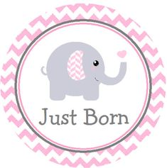 Baby Month Stickers Pink & Gray Elephant by customprintgallery