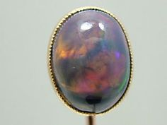 Rare Antique Victorian 9ct Rose Gold 5.00 CT Cabochon Black Opal Stick Pin 1890