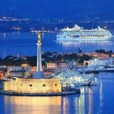 """Statue of """"Our Lady of the Letter"""" in the Harbor of Messina - Sicily. Italy Vacation, Italy Travel, Mykonos, Santorini, Messina Sicily, Voyage Rome, Living In Italy, Regions Of Italy, Sicily Italy"""