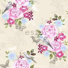 Tapetti Flowers & Birds 138119 m pastelli non-woven