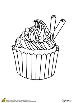 Un succulent cupcake cannelle vanille avec un supplément de crème très onctueuse, à colorier
