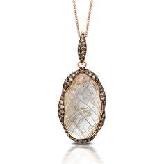 Doves Jewelry rutilated quartz rose gold pendant