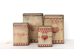 Lovely Set of 4 antique Lustucru french Red Tin by MonsieurLouis
