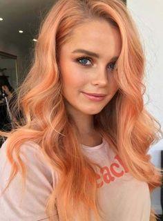 67 pretty peach hair color ideas: how to dye your hair peach - glowsly Choosing the best peach hair Pastel Orange Hair, Peach Hair Colors, Hot Hair Colors, Cool Hair Color, Blonde Orange Hair, Coral Hair, Bright Colored Hair, Pastel Hair Tips, Fun Hair Color
