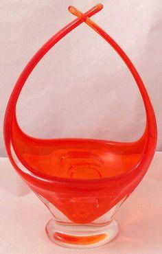 Signed Chalet Canada Art Glass Orange Centerpiece Basket Vase with Cross Arms #ChaletCanadaCo #Murano