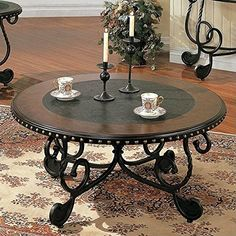 Rosemont Scrolled Base Cocktail Table w Black Inlaid Top >>> Find out more about the great product at the image link. (This is an affiliate link)